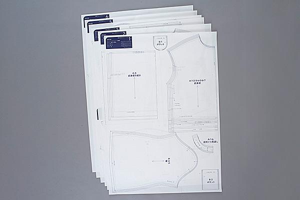 型紙は縫い代つき。そのまま切って使えます